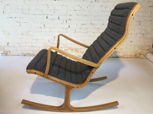 """Exquisite Mid-century Modern bentwood """"Heron"""" rocking chair designed by Mitsumasa Sugasawa for Tendo Mokko circa 1966 - Japan - completely restored with new straps /foam and upholstered in a gorgeous medium grey wool by Maharam (SOLD)"""