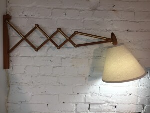 Spectacular Mid-century Modern teak scissor wall light with new custom shade - perfect for over your favorite chair or sofa :) - $475