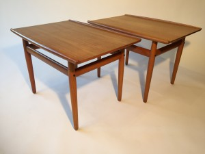 """Pair of 1960's Danish teak side tables designed by Grete Jalk for Glostrup - Made in Denmark - very good vintage condition 27.5"""" L x 19.75"""" d x 19"""" H $550/pair"""