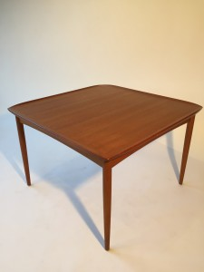"""1960's Scandinavian Modern teak side\corner table with the classic raised lip,very good condition. 29.5"""" x 29.5 x 20"""" H (SOLD)"""