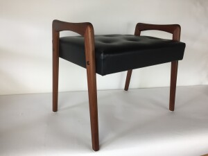 Handsome MId-century Modern teak bench /foot stool - newly refinished and recovered - (SOLD)