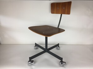 """Incredible Vintage """"KEVI"""" desk chair designed by Jorgen Rasmussen - Made in Denmark - height adjustable and the back is adjustable as well for your most comfortable time spent sitting :) - newly refinished wood seat and back - * note a couple of chips in the seat -(SOLD)"""