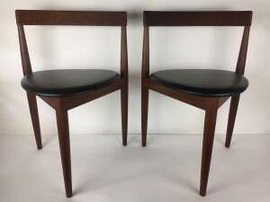 Beautiful 1950s dining chair by Hans Olsen for Frem Rojle.- Made in Denmark - newly refinished wood frame along with a newly upholstered seat - 2 available - would make a great addition to an existing dining set or to be used as an occasional chair. - $475 each