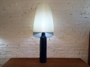 Absolutely Stunning Large Mid-century Modern ceramic lamp by Lotte and Gunnar Bostlund in their gorgeous cobalt blue glaze - this beauty also comes with it's original early tapered fiberglass spun shade - excellent vintage condition - this beauty stands -