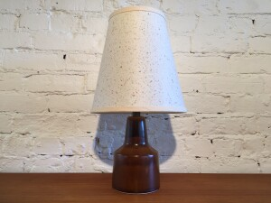 Gorgeous Mid-century Modern ceramic lamp by Lotte Bostlund - the base in a lovely earthy brown glaze - would make for a perfect bedside light - $300