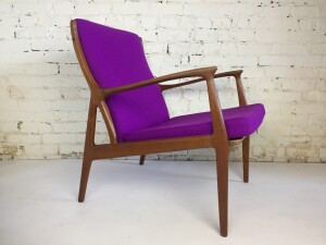 Exquisite MCM 50s teak lounge chair designed by Erik Andersen and Palle Pedersen for Horsnaes Mobelfabrik - Denmark - recently upholstered in an absolutely stunning fuschia felted wool - a RARE find - excellent condition- $2400