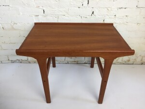 Handsome 1960s teak side table with loads of style - newly freshened up with a light sand and oiling - $350