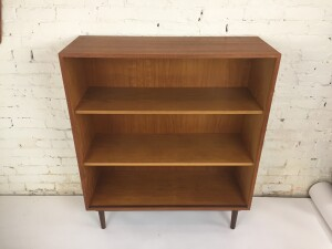 """Fabulous Mid-century Modern Danish teak with glass sliders display cabinet /book case /entry piece - 2 adjustable shelves - very nice condition - -measures -37.5"""" x 14'D x 44.5""""H $700"""