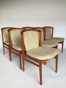 Unique and Rare Set of 6 Mid-century Modern teak dining chairs designed by Erik Buch for Orum MObler - Made in Denmark - the frames have been newly re-finished - the original wool seats and backs have been recently steam cleaned and are ready for their new forever home - :) definitely a chair worth lingering after dinner -:) - (SOLD)