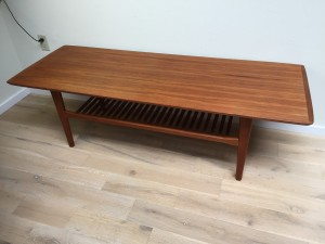 """Handsome 1960's Mid-century Modern 2 tier teak coffee table - newly re-fininshed - - nice size - 60.75""""L x 22.25""""D x 18.25""""H - (SOLD)"""