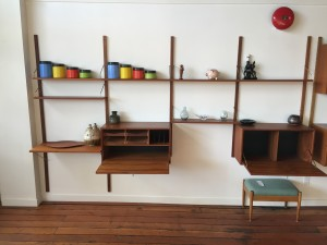 """1960's Danish Modern wall system by Poul Cadovius - Made in Denmark - very nice condition with some re-finishing on the larger drop down desk /cabinet pieces - a perfect piece for the minimalist - e-arrange the shelving and the cabinets to suit your space and style - measures - 126""""L x 14.75""""D x 78""""H -(SOLD) can be viewed in person at our Mason street location :)"""