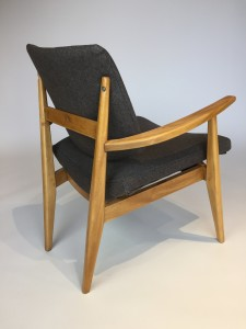 Fabulous 1950's /60's Canadian Modernist arm chair designed by Jans Kuypers for Imperial - the solid wood frame has been professionally re-finished and recently upholstered in a classic grey wool - incredibly comfortable - WOW - (SOLD)