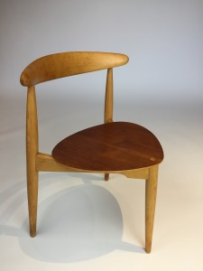 """Pair of 1950's Danish Modern """"heart"""" chairs by Hans J. Wegner for Fritz Hansen 1955 - these stackable tripod chairs are comprised of solid Beech wood frames and teak ply seats - Iconic and highly collectible (SOLD)"""