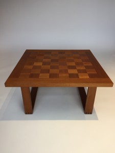 """1960's Scandinavian Modern chess table/cocktail table or coffee table - Designed by Poul Cadovius for renowned Danish Company France & Son - silver button underneath - newly re-finished and looking fabulous 31.5""""Square x 15.75""""H - (SOLD)"""