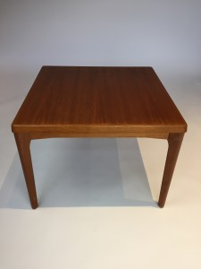 """1960's Scandinavian Modern teak cocktail table /occasional table - Designed by Henning Kjaernulf for Vejle Stole Mobelfabrik - Denmark - newly refinished and looking gorgeous - makers mark on underside of the table - 27.25""""square x 20.25""""H - (SOLD)"""