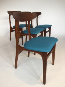 Gorgeous Set of 4 Mid-century Modern dining chairs - recently upholstered in a lovely soft blue fabric - fantastic condition -(SOLD)