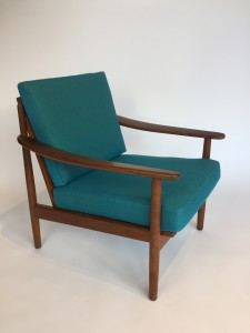 Incredible Scandinavian Modern lounge chair - made in Denmark by Danish company Fabian - circa 1960's recovered in gorgeous Kvadrat fabric (SOLD)