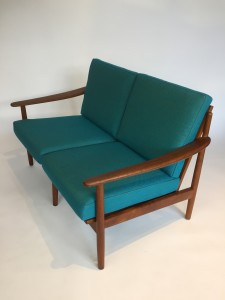 Love seat,made in Denmark in the 1960's by Fabian reupholstered in Kvadrat fabric (SOLD)