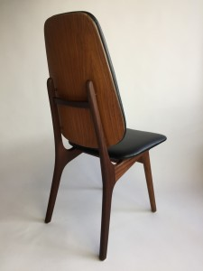 Handsome Scandinnavian Modern teak high back dining chair designed by Arne Hovmand Olsen - Denmark - newly refinished and upholstered in black Naugahyde to keep with it's originality :) - (SOLD)