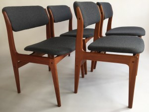 Incredible Set of four Vintage Benny Linden teak dining chairs. Quality construction with incredible lines, the backs are beautifully contoured for the most amazing comfort which leads to extended conversations around the dining table - newly upholstered in a gorgeous medium grey wool - (SOLD)