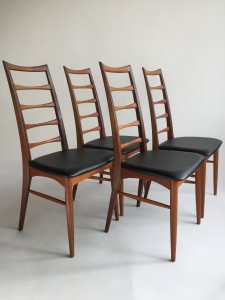 Gorgeous set of 4 quality Danish Modern teak high back dining chairs by Koefoeds Hornslet - Made in Denmark - very good vintage condition -(SOLD)