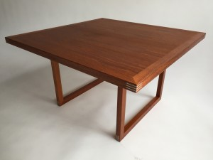 Exquisite Mid-century Modern teak coffee table with incredibly well executed metal inlay in the corners - designed by Rud Thygesen for Heltborg Møbler - excellent refinished condition - (SOLD)