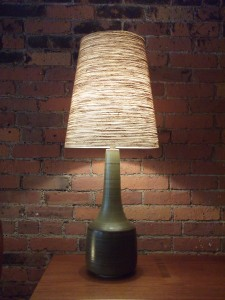 """Outstanding 1960's ceramic lamp with it's original fiberglass lamp shade by husband and wife duo Lotte & Gunnar Bostlund - stunning mossy green/brown swirled color - this beauty stands - 34.75""""H - (SOLD)"""