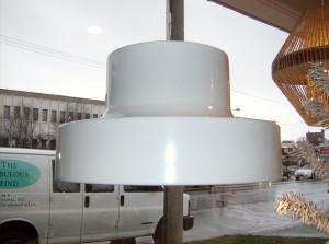 Fabulous super white vintage pendant light by Lightolier - (SOLD)