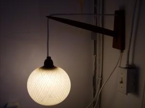 Stunning teak wall light w/spun fiberglass shade -(SOLD)