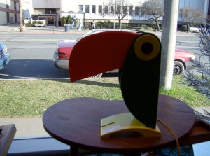 Super cool original vintage Old Timer Ferrari toucan lamp made in Italy - (SOLD)