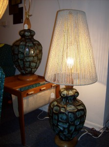 Super funky Maurice Chalvignac pottery lamps - made in Quebec circa 196o's - (SOLD) (one comes with an original shade - one does not)