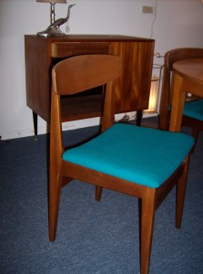 Fabulous set of 4 Mid-century modern teak dining chairs with beautiful blue wool seats - (SOLD)