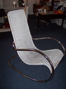 Super fabulous tubular chrome rocking chair with cane seating at an absolute Fabulous price (SOLD)
