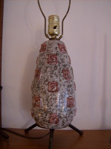 Amazing Atomic textured ceramic 3 legged lamp base (could be by Raymor(Italian) - (SOLD)