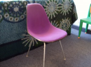 Fabulous Original vintage Eames side chair for Herman Miller w/wonderfully bright purple fabric - (seat needs a good cleaning) - sold as is for only (SOLD)