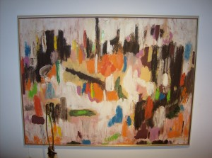 """Fabulous vintage abstract oil painting signed M. Mathie - 1970 - 40""""X30"""" -  (SOLD)"""