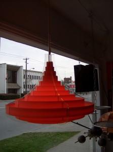 Super Groovy vintage pendant light - materials - clear acrylic/orange plastic  - (SOLD)