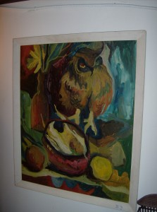 """Fabulous Funky Mid-century modern oil painting of an owl and fruit - signed Cook '67 - Artist Lloyd Cook - 27""""X32"""" including the frame - (SOLD)"""