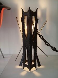 Killer Medieval Mid-century modern cast iron pendant light - (SOLD)