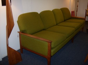 Stunning Mid-century modern solid teak/upholstered 4 seater sofa - the green upholstery is in really great condition and the foam is firm, but comfy - style and comfort - perfect - (SOLD)