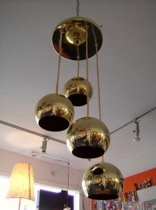 Groovy Space-age brass 5 ball hanging light - (SOLD)