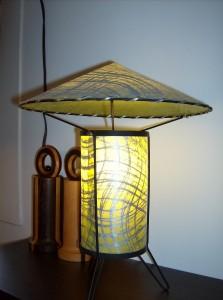 Fabulous Atomic 1950's Pagoda style fiberglass and wrought iron table lamp - (SOLD)