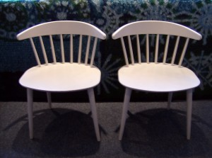 Great pair of Vintage Danish occasional chairs w/ nice wide seats and spindle backs - (SOLD)