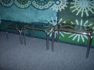 Retro set of 3 chrome and glass nesting tables - great for your home and/ or office - (SOLD)