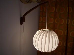 Killer Mid-century modern Danish teak wall light w/incredible shade - 2 available - (SOLD)