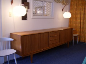 """Stunning Mid-century modern Danish teak sideboard w/lovely tambour doors, dovetail drawers,killer legs and a beautifully finished back - manufactured by Bernhard Pedersen and Son - top tier quality - this handsome piece measures 98.5""""length X 21.25""""deep and 31.5"""" high - (SOLD)"""