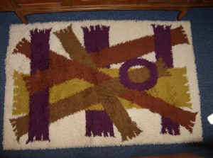 """Fabulous 1960's Rya Rug - cream/shades of brown and yellow and purple - really beautiful - great pattern - 5 ft X 40"""" - (SOLD)"""