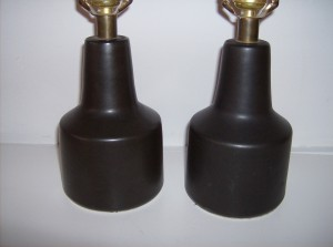 Beautiful pair of original Mid-century modern Lotte Bostlund small bed side lamp bases - colour - charcoal - (SOLD)