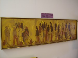 """Original vintage signed Mackay painting - titled - """"People""""  - a super fantastic painting - It measures - 55"""" X 16"""" - (SOLD)"""