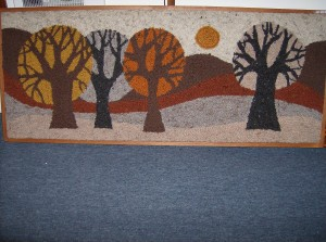 Super Mid-century modern hand hooked rug with an unbelievably cool scene -  framed in solid oak - 5' X 2'  - a steal for (SOLD)